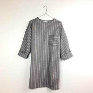 ZARA NWT GREY PINSTRIPE DRESS WITH FRONT POCKET